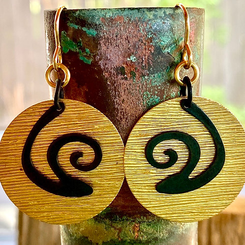 Textured Brass with Black Spirals Earrings