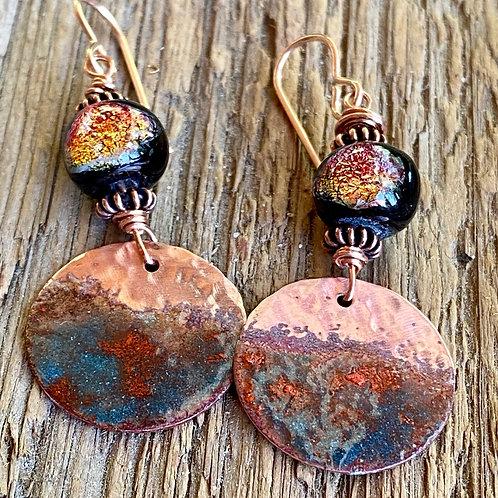 Copper Enamel and Dichrouc Glass Dangle Earrings