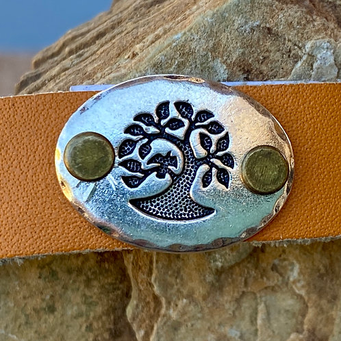 Orange leather  Tree if Life leather bracelet