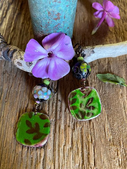 Copper enamel leaf/branch earrings with cloisonne beads