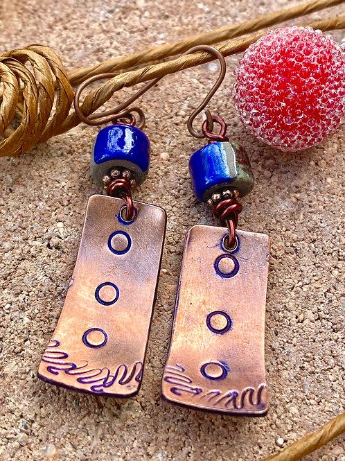 Metal stamped Copper Earrings with Raku Beads