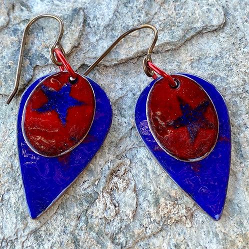 Layered Copper Enamel Star Drop and Dangle Earrings