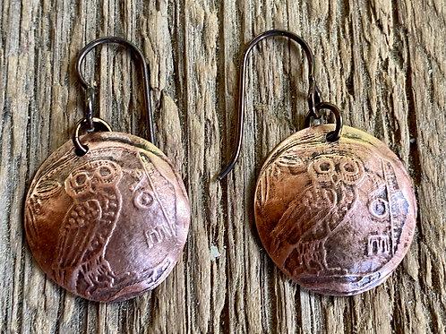 Minerva Owl Copper Earrings