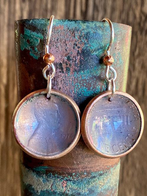 1974 Lincoln Penny Copper Enamel Earrings