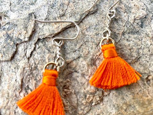 Razzle dazzle orange tassel earrings with sterling silver