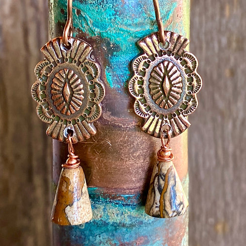 Western copper buttons repurposed with Jasper
