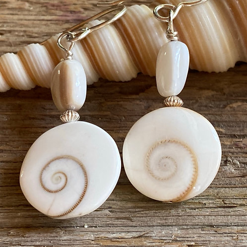 Shiva Shells, Sterling Silver  and Mother of Pearl earrings