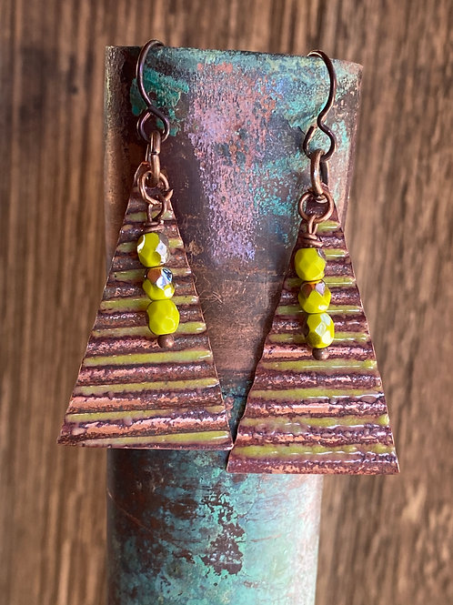 Corrugated copper triangle earrings  with chartreuse enamel
