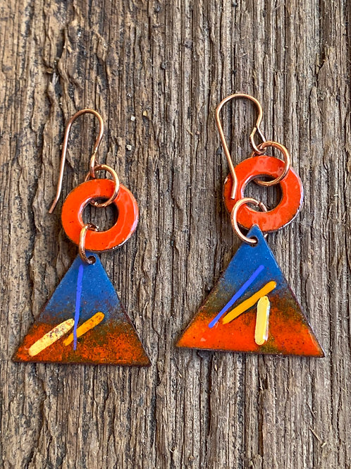 EMandarin Orange and Cobalt  Blue enameled triangle Earrings
