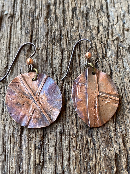 Fold Formed Copper rounds with patina