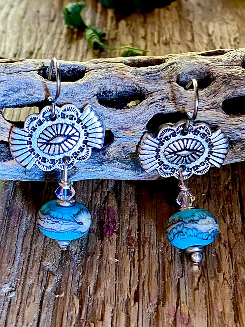Pewter Southwest button earrings with Lampwork Glass