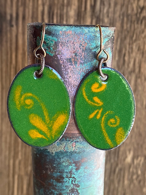 Green and Yellow Torch Fired Enamel