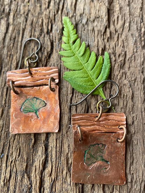 Metal stamped Ginkgo's Earrings on Copper