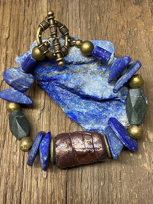 Raku  clay focal bead and Lapis Lazuli bracelet