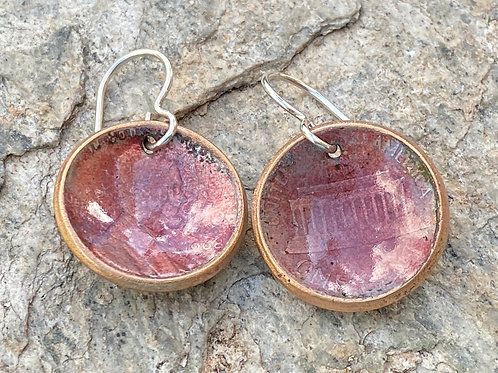1964 Copper Enamel Penny Earrings