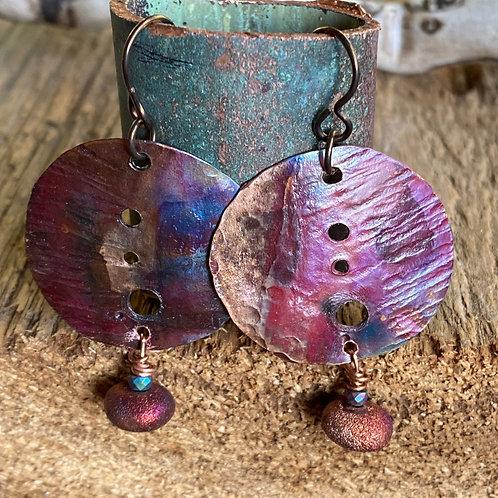 Copper and Raku Clay Earrings