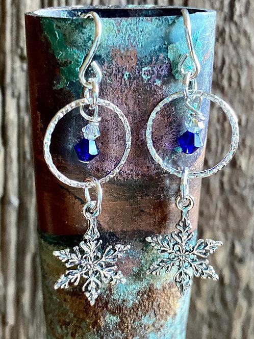 Sterling Silver Snowflake Earrings with Swavorski Crystals