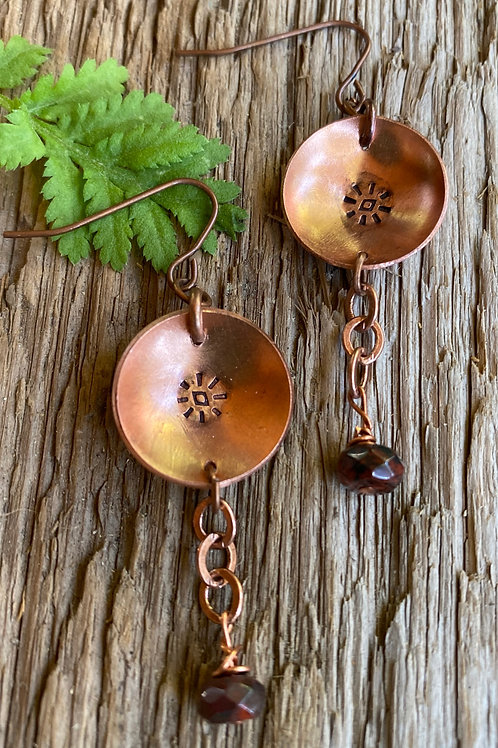 Copper Drop and Dangle Earrings with Czech Glass
