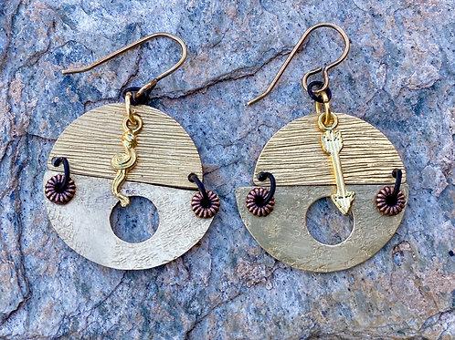 Textured Brass Earrings