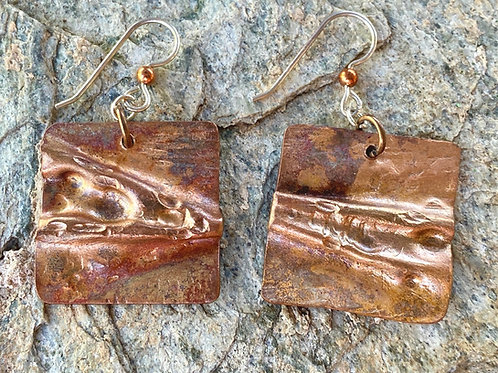 Air Chased Copper Earrings