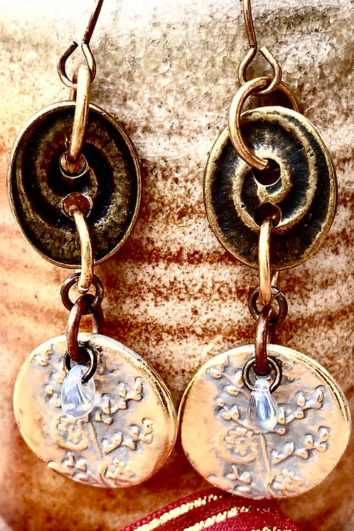Brass and floral earrings