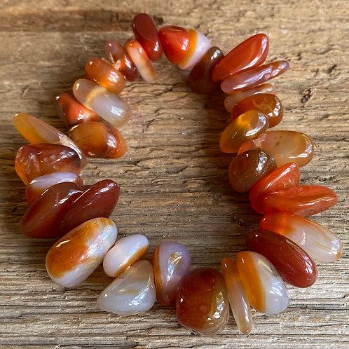 Carnelian semi-precious gemstone stretchy bracelet