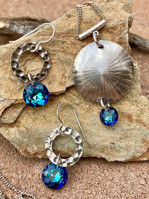 Sterling Silver and Bermuda Blue Necklace and Earrings