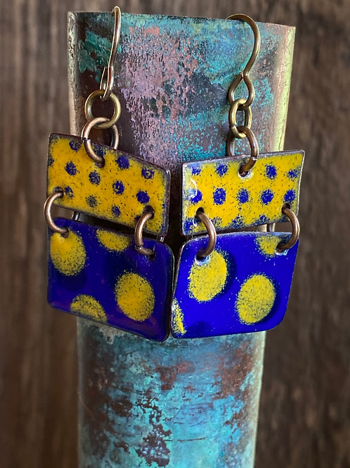 Polka Dot Parade earrings with enameled glass in cobalt blue and marigold yellow
