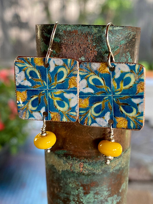 Teal and Marigold Vintage Charm Earrings