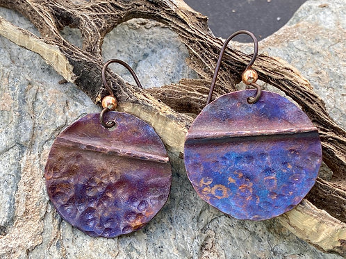 Fold Formed, Textured Copper Disc Earring