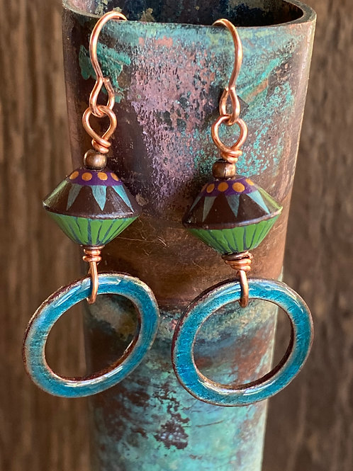 Enameled earrings with polymer clay accent beads