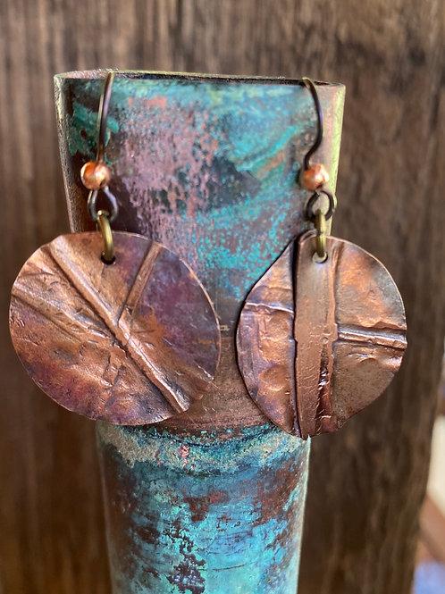 Fold Formed Copper Asymmetrical Earrings