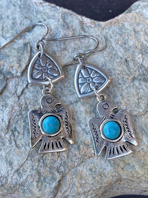Pewter Buttons and Thunderbird Earrings