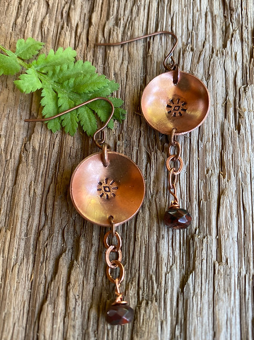 Metal Stamped copper disc with czech glass