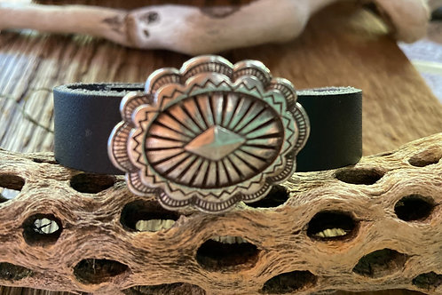 Pewter and Leather Concho Bracelet