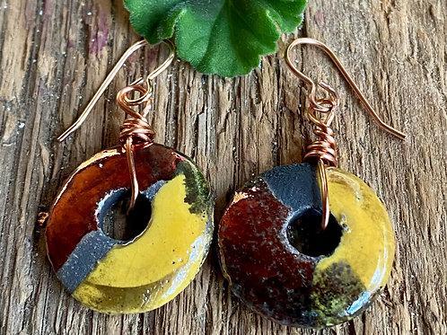 Raku Donut Earrings in Harvest Colors
