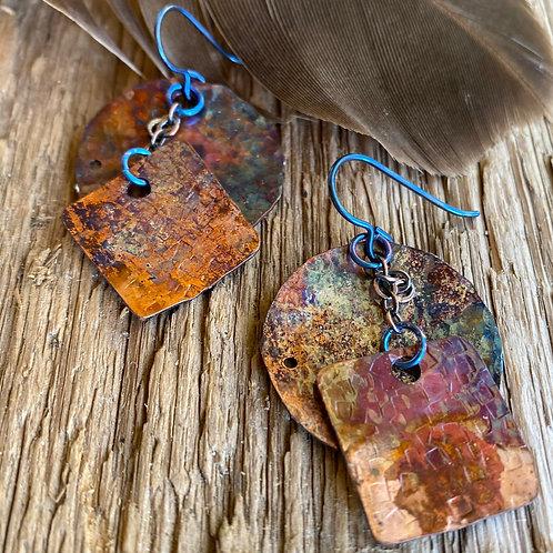 Earthy, Organic Patterned Copper Earrings