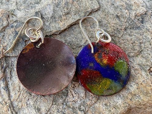 Copper Enamel Earrings Bold and Beautiful