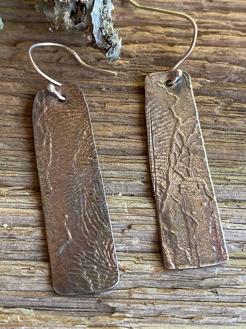 Organic embossed sterling silver earrings.