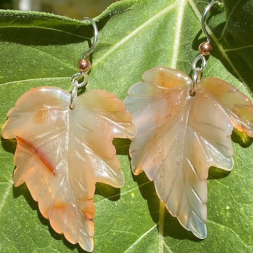 Onyx Leaf Earrings with Sterling Silver