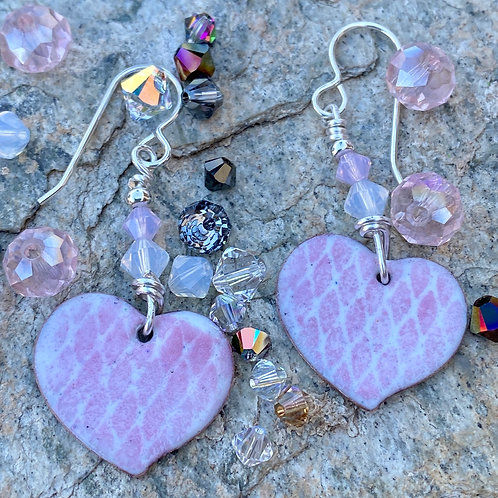 Pink and White Heart Earrings in Copper Enamel