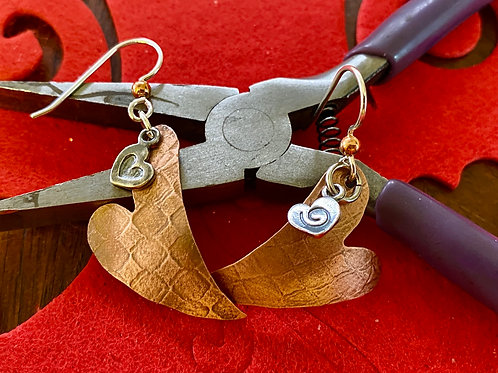 Copper Hearts With Sterling Silver Charm Earrings