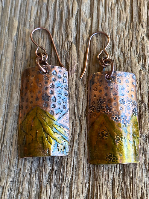 Magical Mountains and Stars Copper Earrings