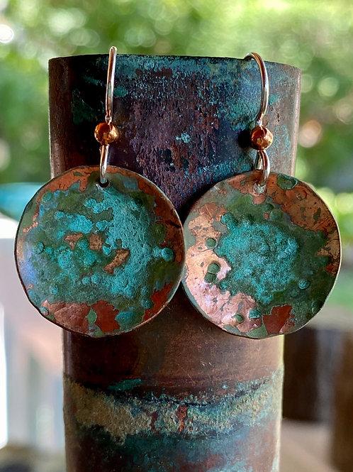 Copper Earrings - Verde Green Patina