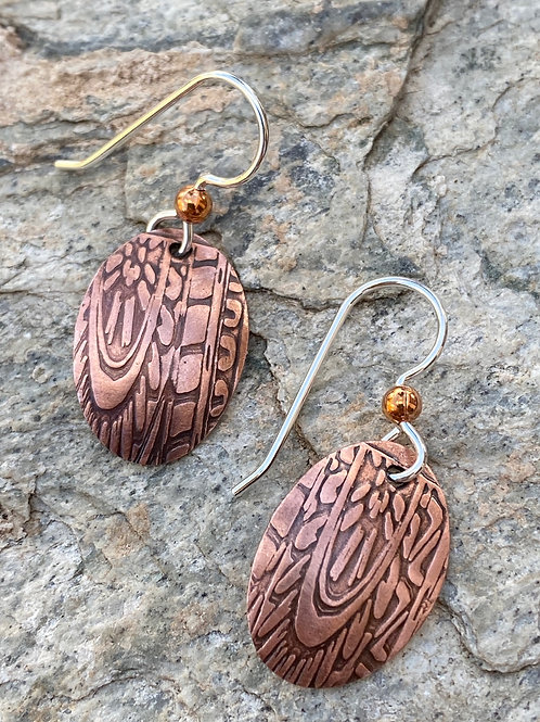 Embossed Copper oval earrings