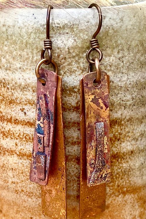 Organic Fused  Copper Earrings