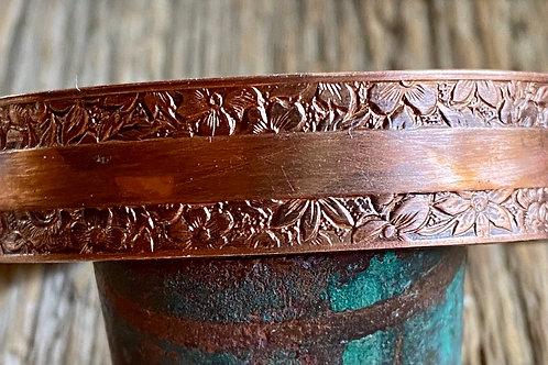 Floral Embossed Copper Cuff Bracelet