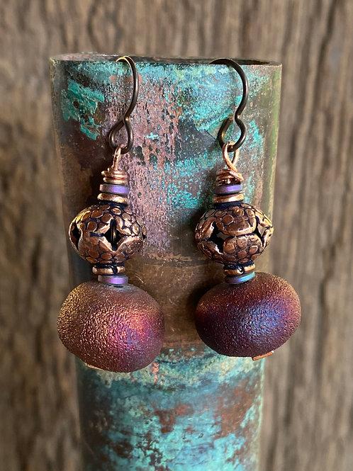 Raku Clay and Copper Earrings