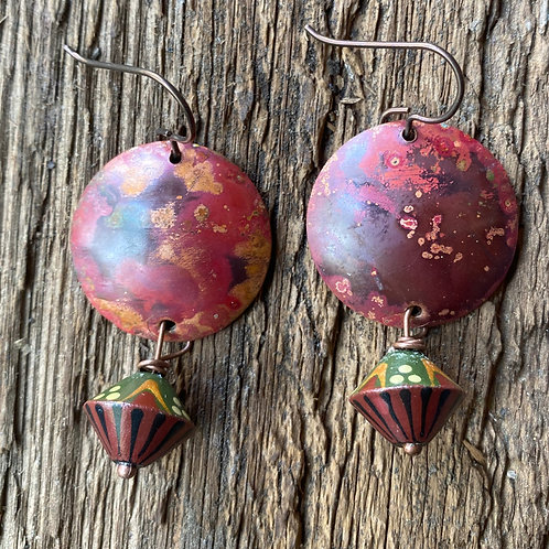 Flame painted copper earrings with organic clay accent beads