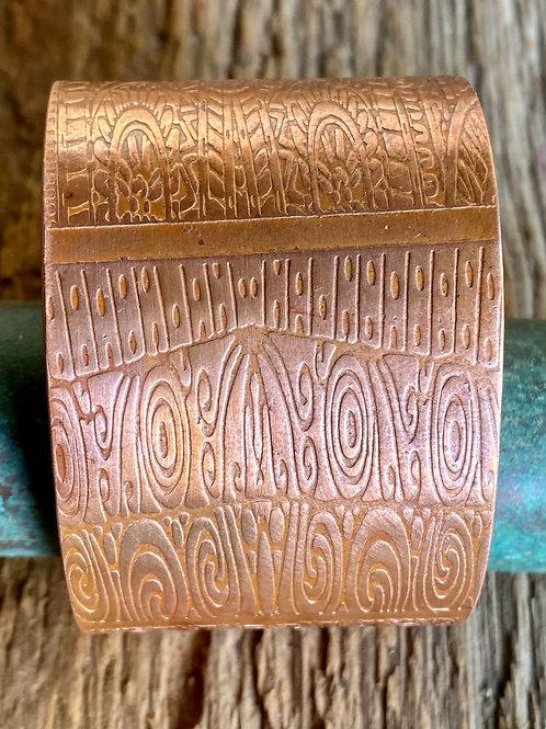 Copper Cuff Bracelet - Geometric Design